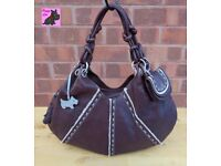 RADLEY Large Brown Textured Leather TIBET Hand/Shoulder Bag with Scottie *Excellent Condition*
