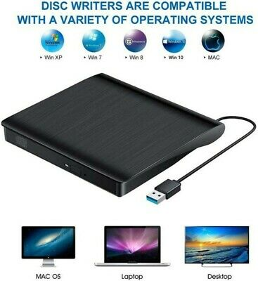 USB 3.0 DVD Externo RW Grabador CD Driver Lector Reproductor para Mac Windows