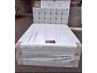 SMALL DOUBLE 4FT BED AND MATTRESS WITH DESIGNER HEADBOARD