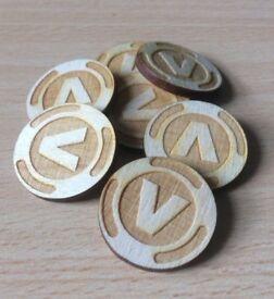5 x Fortnite plywood craft coins V-Bucks Battle Royale XBOX PS4