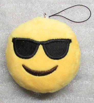 Emoji 3 in SUNGLASSES Emoticon COOL Soft Cloth Yellow KEY CHAIN Keychain (Cool Sunglasses Emoticon)