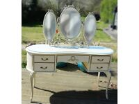 French Louis Style Kidney shaped Dressing Table, Mirror, Stool.