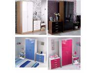 Brand New 3 PC Bedroom Sets Walnut Black White Oak Blue or Pink Wardrobe Drawer Chest Bedside