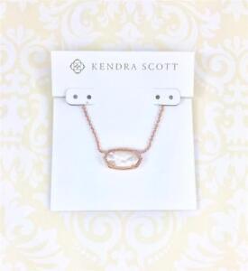 NWT Kendra Scott Elisa ivory Pearl Pendant Rose Gold tone Necklace