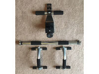 Adjustable Pul-up Bar, Push-up bars, Sit-up door attatchment and skipping rope