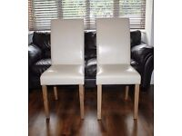 FOUR gorgeous cream leather & oak dining chairs - BRAND NEW