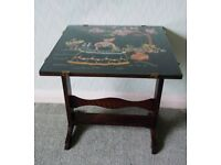 """VINTAGE OAK SIDE TABLE WITH GLASS TOP/EMBROIDERY, TILTS TO FOLD 18"""" SQ, GD CON"""