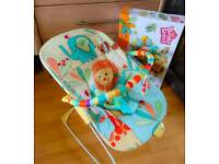 Bright Starts Safari Baby Bouncer with Soothing Vibration
