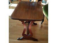 "Vintage Mahogany Side Table With Lyre Shaped Sides 20"" x 13.5"" x 16"""