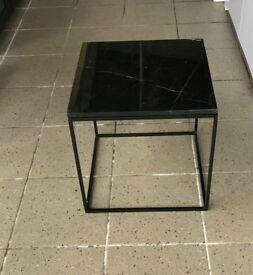 NEW. Black Marble Top Side Table.