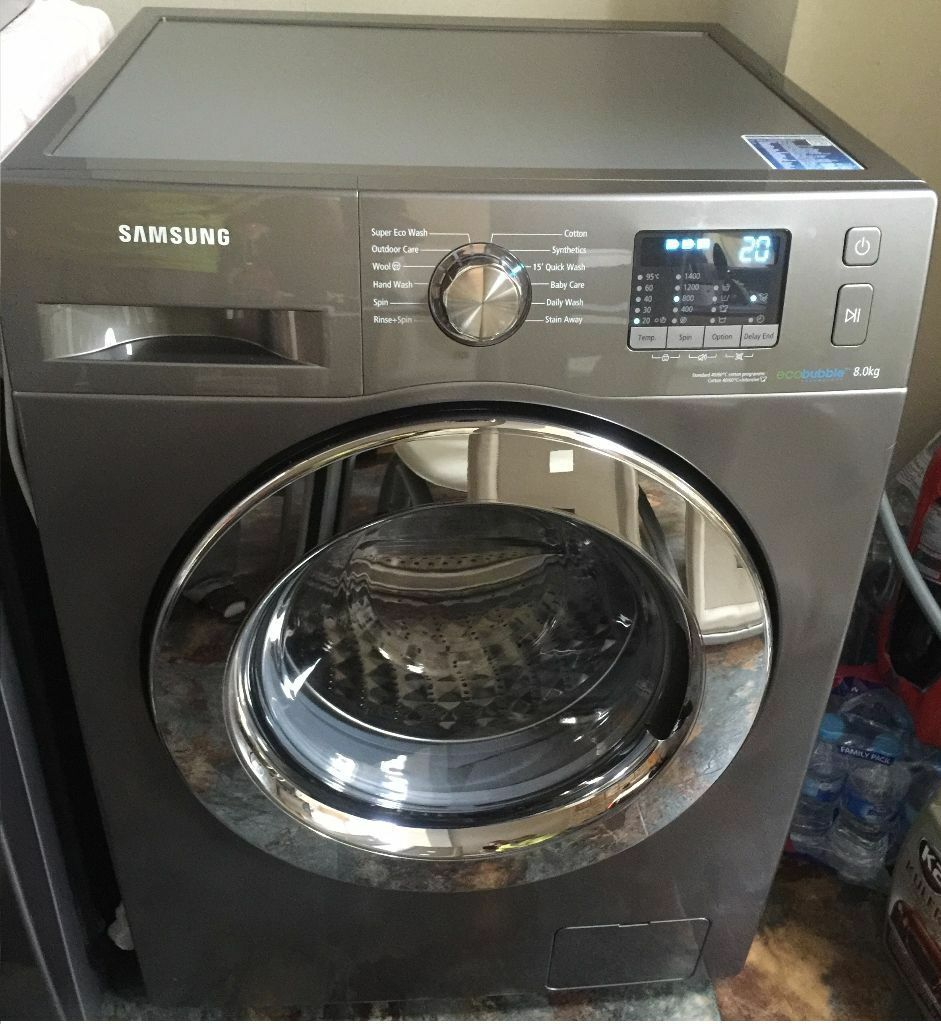 new ex display samsung wf80f5e2w4x washing machine eco bubble in willenhall west midlands. Black Bedroom Furniture Sets. Home Design Ideas