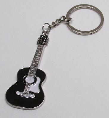 ACOUSTIC Black GUITAR Metal Alloy KEY CHAIN Ring Keychain NEW