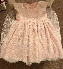 Monsoon party dress 6-12months pink lace girls