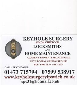 KEYHOLE SURGERY LOCKSMITHS AND PROPERTY MAINTENANCE - IPSWICH BASED - 01473 715794 - 07599 538917