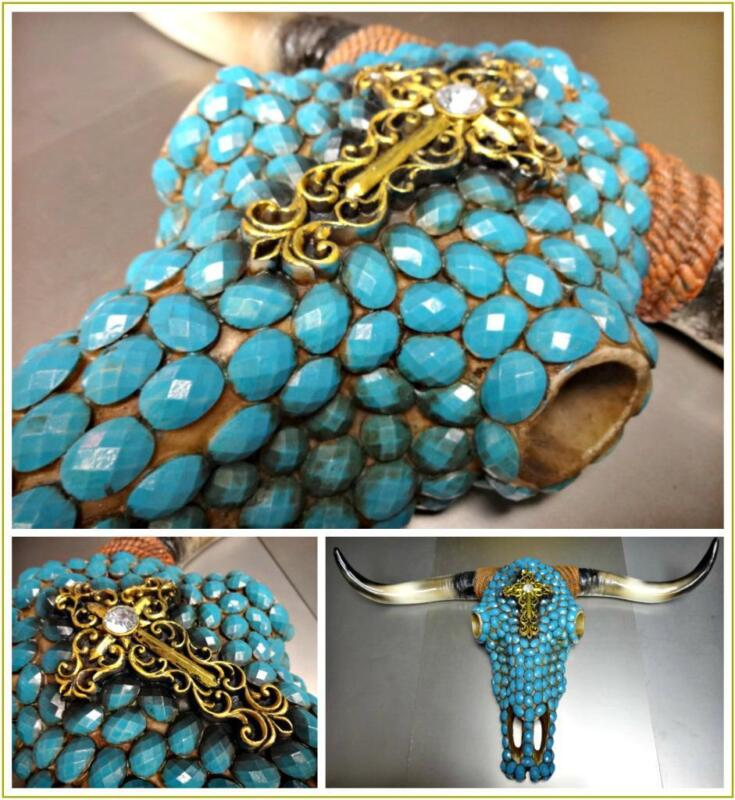 Western Cow Skull Turquoise Jewel Rustic Hanging Large Wall Sculpture Decoration