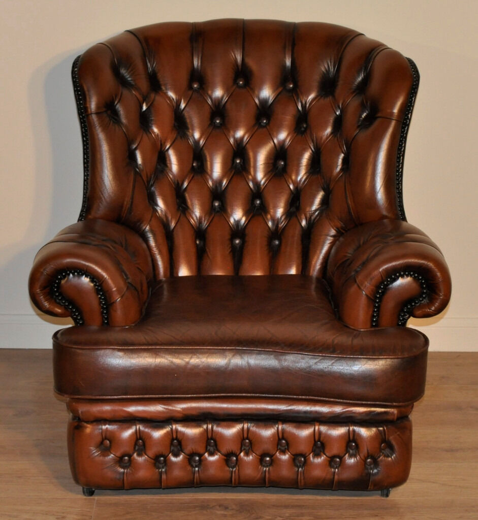 Attractive Vintage Brown Leather Chesterfield Style ...