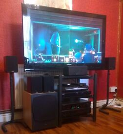 "COMPLETE Home Cinema system. 50"" TV, 7.1 channel amp, Speakers, Blu-ray player, Sky box, 38 films."