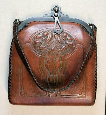1920s Handbags, Purses, and Shopping Bag Styles Circa 1920's Tooled Art Nouveau Design Leather Purse Excellent Condition $200.00 AT vintagedancer.com