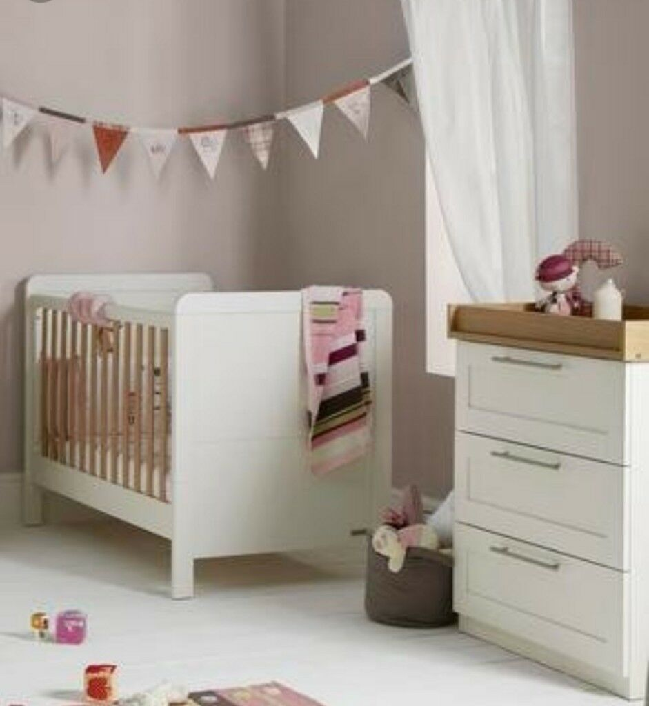 mamas and papas rialto cot bed and dresser changer wardrobe nursery