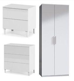 NEW ARCTIC WHITE HIGH GLOSS 3 PIECE BEDROOM SET (2 DOOR WARDROBE, 3 DRAWER CHEST & 2 DRAWER CHEST)