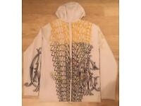 Brand new and authentic men's Christian Audigier cream knitted cashmere / wool hoodie