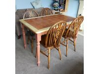 Tiled Kitchen Table and Four Chairs