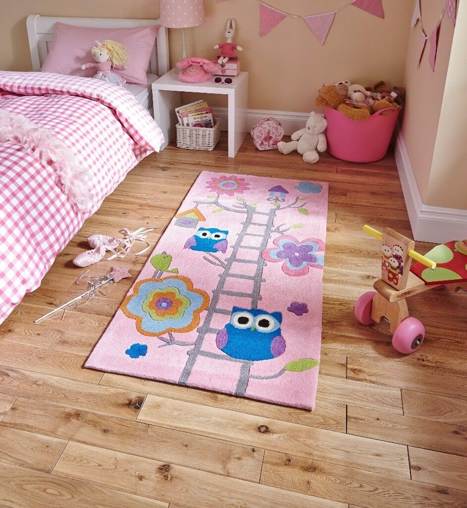 Think Rugs, Children's Pink Owls Floor rug, 070 x 140, Beautiful colours