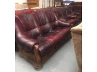 ** REAL LEATHER OXBLOOD 3 1 1 SUITE - CAN DELIVER **