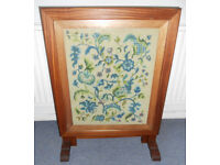Metamorphic Firescreen or Coffee Table, with Glazed Tapestry Pattern