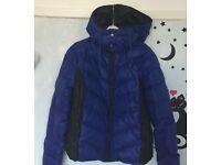 "LADIES Blue /Black Down Jacket XL 42"" Like New"