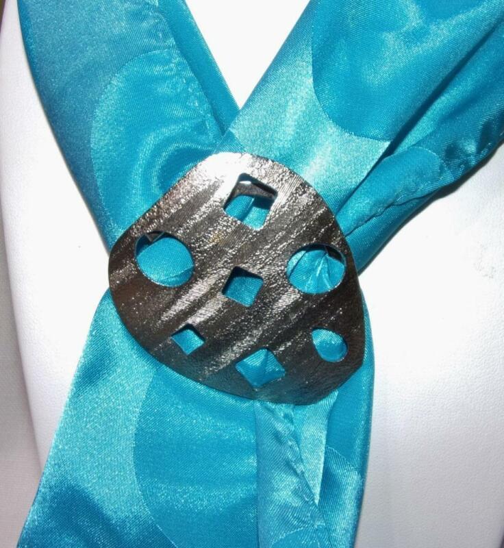 Lieba Made in U.S.A. Textured Silver Tone Modern Design Scarf Clip