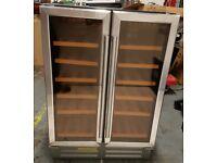 Stainless Steel 60cm 36 Bottle Capacity Two Door Built Under Wine Cooler