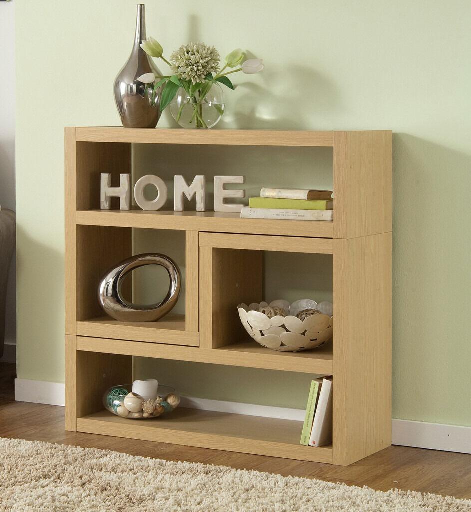 asda george new ancona l units oak effect shelf display bookcase