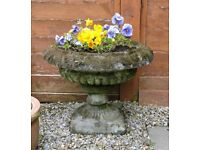 SHALLOW URN PLANTERS SQUARE PLINTH BASE GARDEN ORNAMENTS