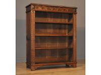 Attractive Antique Victorian Oak Open Floor Adjustable Bookcase Cabinet