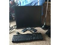 Monitor, keyboard and HP Officejet printer/scanner