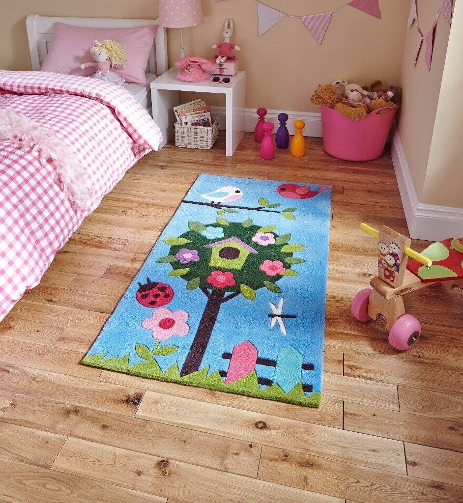 Think Rugs, Children's Enchanted Blue Garden floor Rug, 070 x 140