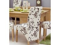 2 - 4 - 6 - 8 x Oak Upholstered Dining Chairs