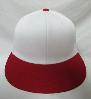 Lids Men Size 6 7/8 - 7 1/4 Fitted Flat Brim Wool Blend Baseball Cap Hat  E1 454 Flat Brim Fitted Wool Cap