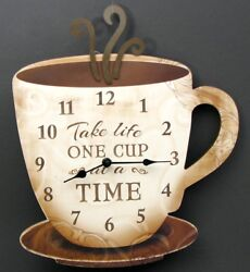 Large Wooden Coffee Cup Wall Clock  Take Life One Cup At A Time Bistro Decor