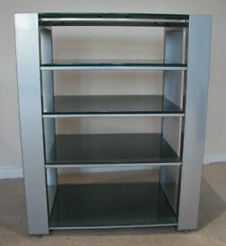 Modern grey Hi-fi stand with 5 frosted glass shelves