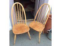 Pair Of Original Elm Seated Ercol Chairs Hoop Back 1960