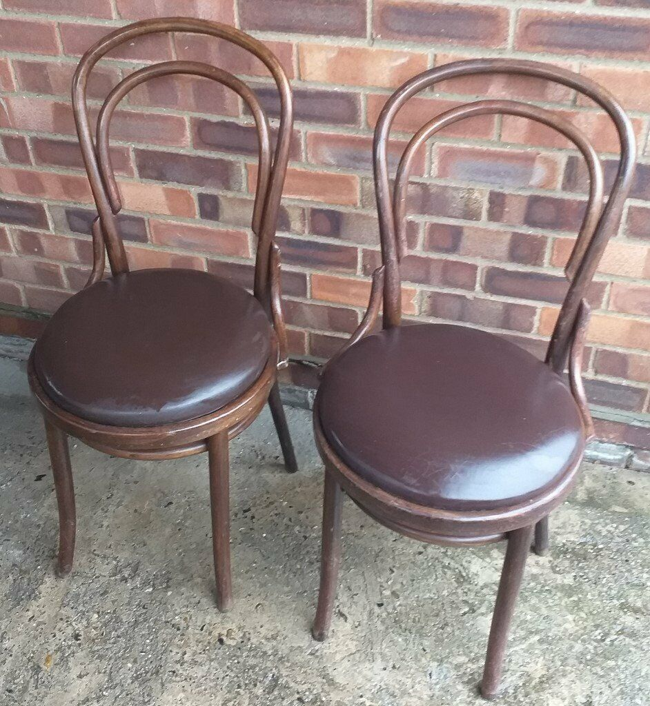 Pair Of Bentwood Dining Chairs With Leatherette Seats In