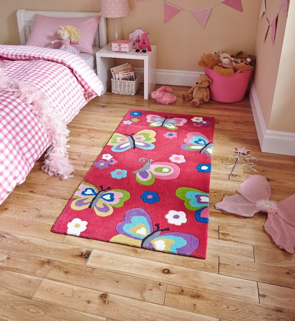 Think Rugs, Children's Pretty Butterflies Rug, 070 x 140, Bright bold colours