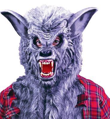 Erwachsene Deluxe Ferocious Zähne Grau Werwolf Vollständige Abdeckung Kopfmaske