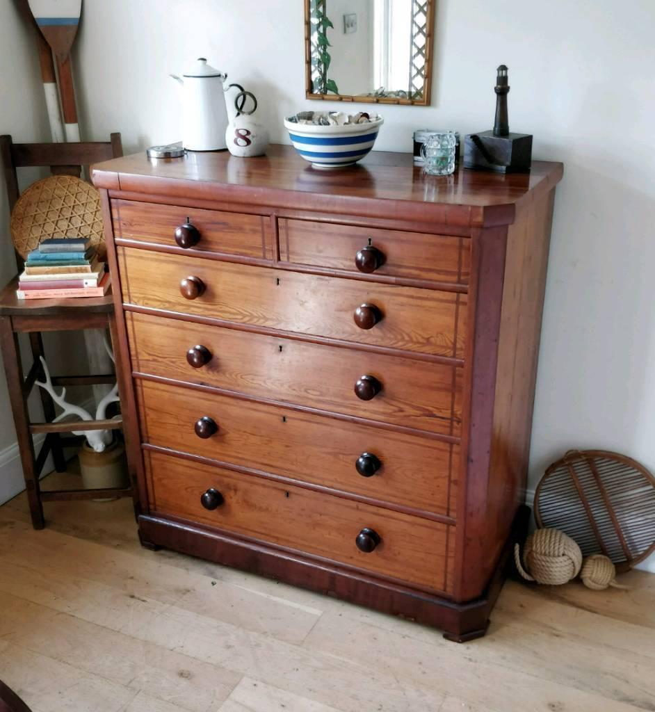 Antique welsh pine chest of drawers dresser bedroom furniture vintage drawers antique pine Antique bedroom dressers and chests