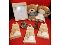 Wedding Bundle Confetti Blue Garter Lucky Black Cat & Sweep Bride & Groom Teddy Bears