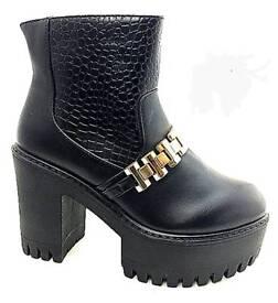 Chunky platform heel ankle boots