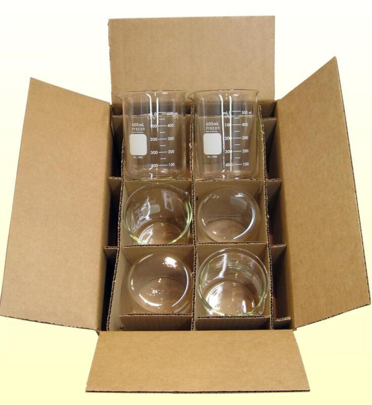 Case of 6, 600ml Pyrex Beakers, by Corning