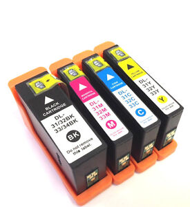 4Pk New Chip Series 31 32 33 34 Ink Cartridges For Dell 33 34 Inkjet V525w V725w